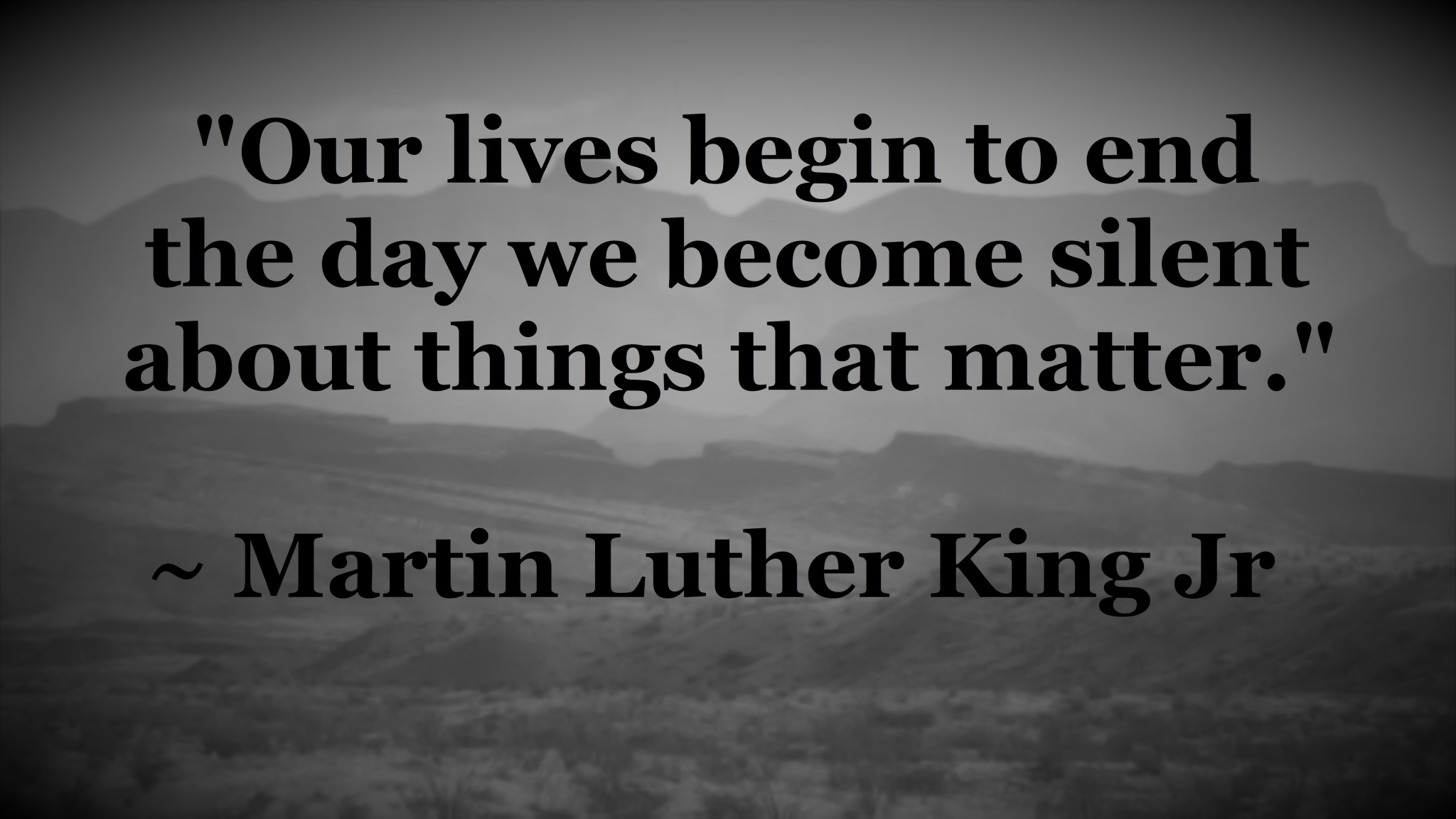 MLK - silent about things that matter